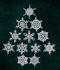 NEW HAND CROCHETED SNOWFLAKE ORNAMENTS One of a Kind SET OF 12   ooF
