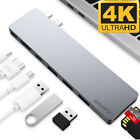 Aluminum USB Type C 8in1 4K HDMI Hub Adapter Card Reader USB 3 for Macbook Pro