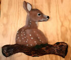 Hand Carved Whitetail Deer Fawn Chainsaw Carving Antler Rustic Wood Wall Art