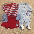 EUC Carters Child of Mine boys preemie set shirt shorts sleeper socks mittens