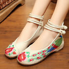 Chinese Style Women Casual Shoes Flower Sandals Embroidered Flats Mary Janes