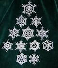 NEW HAND CROCHETED SNOWFLAKE ORNAMENTS One of a Kind SET OF 12   ooA