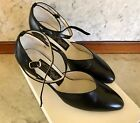 Dancelife Ladies Dance Shoe US 45 Black leather Suede Sole New Unworn