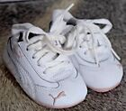Puma leather Baby Shoes size 2 white and Pink lace up