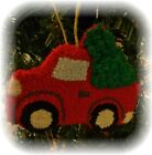 Prim Punch Needle Red Truck with Christmas Tree Ornament - Cupboard Hanger