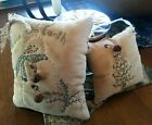 2 primitive handstitched mini pillows Christmas cupboard tuck bowl fillers