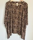 Chicos Blouse Pullover Animal Print Butterfly Hem Size 2 L 12