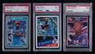 1985 KIRBY PUCKETT ROOKIE LOT OF 3 FLEER, TOPPS & DONRUSS PSA 9
