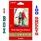 100 SHEETS  CANON PHOTO PAPER PLUS GLOSSY II 4 x 6 1 BOX