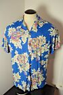 PARADISE ON A HANGER Mens MEDIUM Floral Hawaiian Shirt Guuitar b14