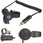 Motorcycle Handlebar Dual USB Adapter Phone Charger Blue Indicator Ligh