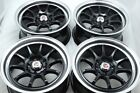 4 New DDR Roar 15x7 4x100/114.3 30mm Black/Polished Lip 15