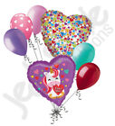 7 pc Pretty Unicorn I Love You Happy Valentines Day Balloon Bouquet Kiss Hug
