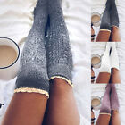 Girls Ladies Women Lace Over the Knee Socks Long Knited Stockings Winter Warm US