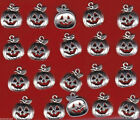 LOT OF 20 SILVER TONE JACK O LANTERN PUMPKIN METAL CHARMS US SELLER C0