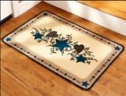 Blue Stars Hearts Print Rectangle Accent Area Throw Rug Indoor Home Decor