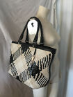 COLE HAAN  GENEVIEVE black white LEATHER optical weave woven Tote HANDBAG