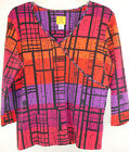 Ruby Rd Red Purple Stud Embellished Faux Crossover V Neck Top 3 4 Sleeve Sz L