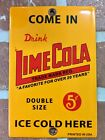 LIME COLA PORCELAIN PALM PRESS DOOR PUSH SIGN LIME RICKEY 6X4 Size