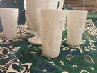 Vintage White Milk Ice-lipped  pitcher  and 4 glasses set. Harvest Grape pattern