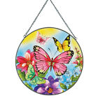 Colorful Butterfly and Flowers Stained Glass Suncatcher 10 Round
