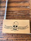 Ink blocks Rubber Stamp Halloween skull with banner holiday