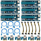 6 X USB 30 Pcie PCI E Express 1x to16x Extender Riser Card Adapter Power Cable