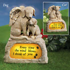 Pet Memorial Stone Angel Wings Solar Powered Lighted Cats Dogs Design Decor