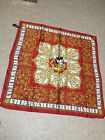 Vtg New Disney Tie Rack Mickey Mouse Regal Scarf Red Gold Rich