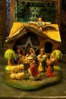 Vintage Nativity with Fold Up Stable 9 Separate Figures 2 palm trees and star