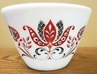 Vintage Fire King Mixing Bowl Modern Tulip White Milk Glass Red