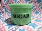 Jadeite Green Glass Round Sugar Canister with Lid in Excellent Condition