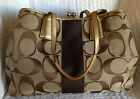 COACH Signature Kisslock Striped Shoulder Bag Purse 13533
