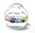 Vintage Faceted Crystal Millefiori Art Glass Round Paper Weight