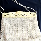 Vintage Purse Celluloid Frame White Crocheted Ivorine Retro Deco Bag Hand 1940