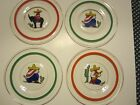 Vintage 1940s glass plates. Hand Painted