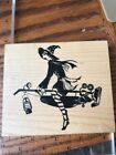 Inkadinkado Wood Mount Rubber Stamp Halloween Girl Witch Flying On Vacuum Cute