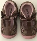 Stride Rite Infant Girls Sneaker Athletic Shoes Size 4M EUC Pink Brown Velcro
