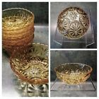 Anchor Hocking Amber Glass Medallion Pattern Scalloped Edge Berry Bowls ( 5)