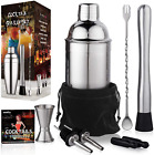 Bartender Cocktail Shaker Set Mojito Kit Stainless Steel Mixer Drink Tools 24 oz