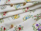 Lovely Vintage Hand Embroidered Linen Tablecloth with Flowers