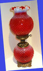 Rare Limited and Beautiful Fenton Ruby Opalescent Hobnail GWTW Lamp