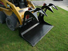 Skid Steer Attachment 72 Dual Cylinder Solid Bottom Bucket Grapple Free Ship