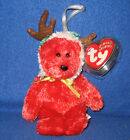 TY 2002 HOLIDAY TEDDY  the RED BEAR JINGLE BEANIE BABY - MINT TAGS