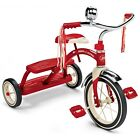 Radio Flyer Classic Dual Deck Tricycle Red Ages 2 5 Spoked Wheels Streamers Bell