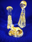 DILLARDS 3 PC BLOWN GLASS NATIVITY SET WITH GOLD TRIM VERY CONTEMPORARY 7 1 2