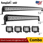 52Inch LED Light Bar Curved+32in Combo+4 Pods Offroad Tractor Driving for Jeep