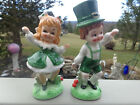 Vintage Lefton Figurine Irish Girl Lassie Dancing Boy Available Repaired