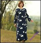 Women Cotton Linen Long Coat Chinese Vintage Buttns Loose Robe Floral Outwear