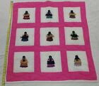 RARE Native American Patchwork Baby Indian Girl Quilt Crib Blanket Pink 35x36